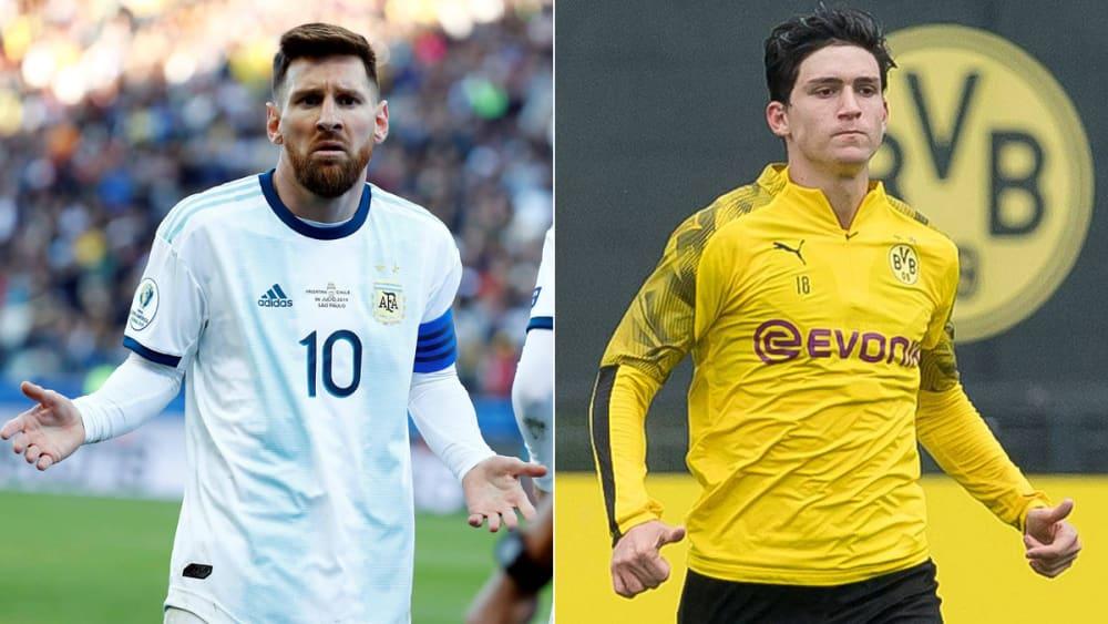 Lionel Messi und Leonardo Balerdi