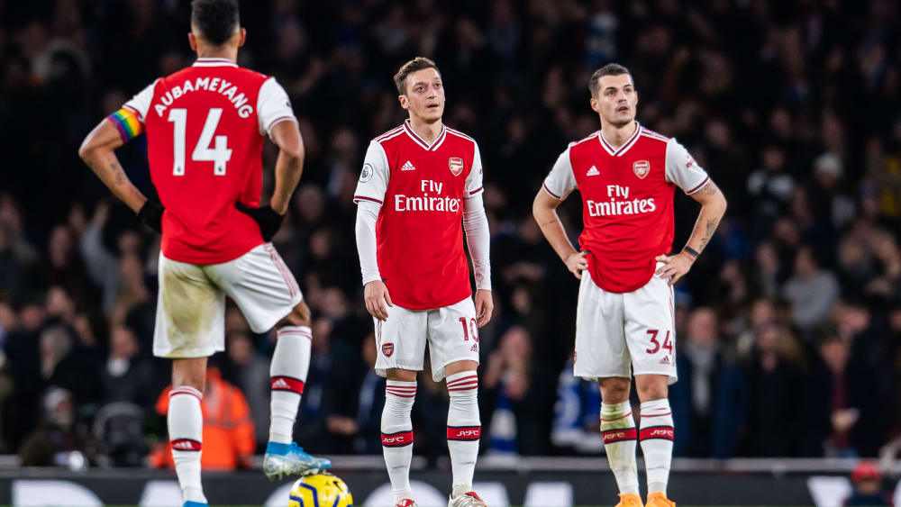 Es läuft nicht bei Arsenal: Aubameyang, Özil und Xhaka konsterniert.