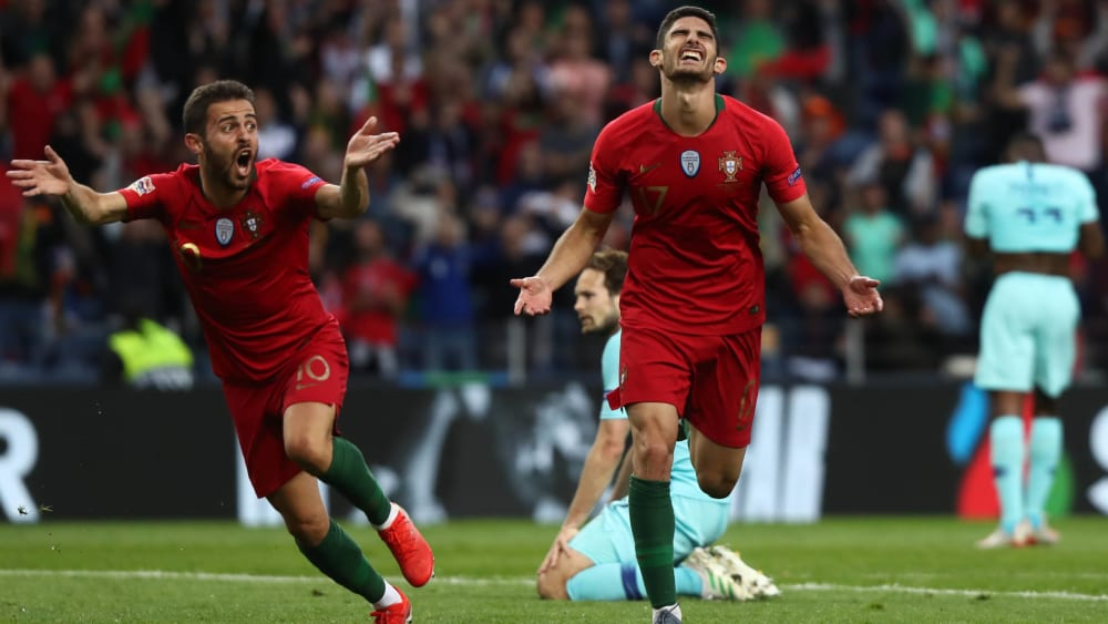 Er entschied das Finale der Nations League: Portugals Goncalo Guedes (re., mit Vorlagengeber Bernardo Silva).
