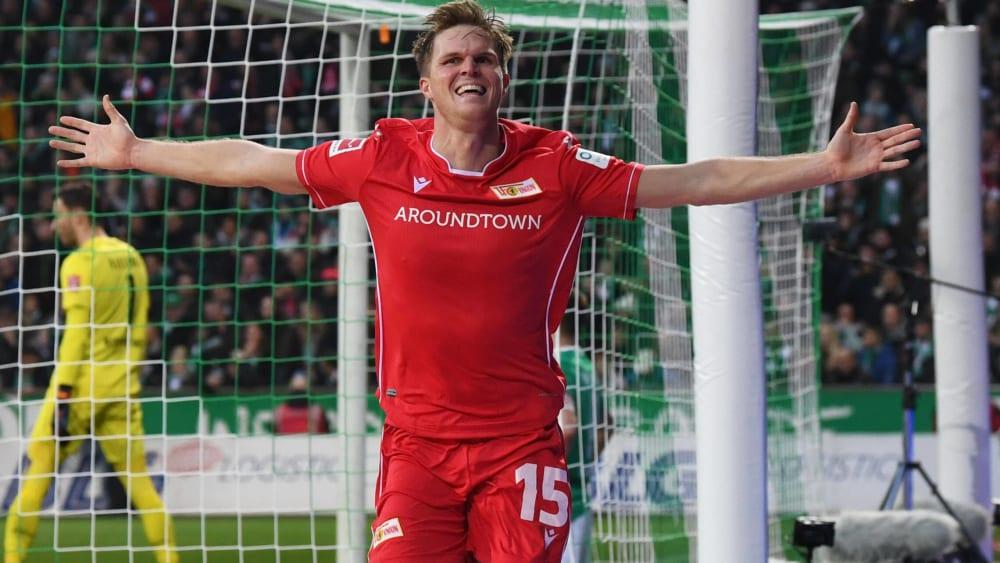 Union Berlins Marius Bülter jubelt über einen Treffer beim 2:0 in Bremen