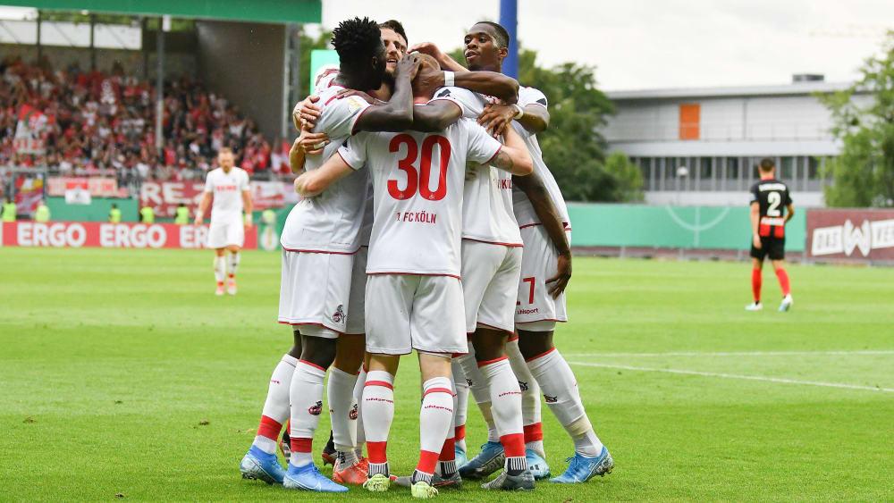 Im Elfmeterschießen erfolgreich: Köln rettete sich in Wiesbaden denkbar knapp ins Ziel.