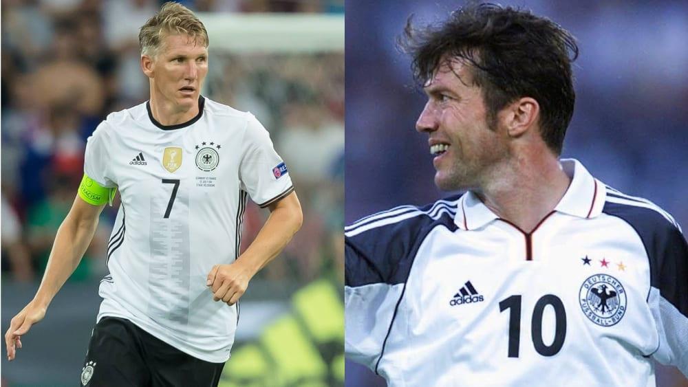Bastian Schweinsteiger (li.) und Lothar Matthäus im Dress der Nationalmannschaft.