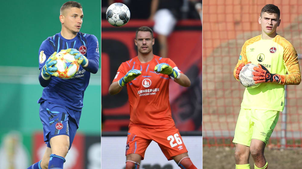Fallen beim 1. FC Nürnberg längerfristig aus: Die Keeper Patric Klandt, Christian Mathenia und Jonas Wendlinger (v. l.)