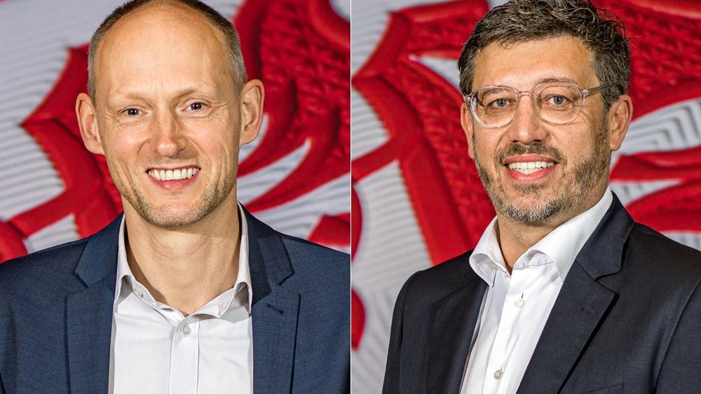 Die finalen Kandidaten für das Präsidentschaftsamt beim VfB Stuttgart: Christian Riethmüller (li.) und Claus Vogt.