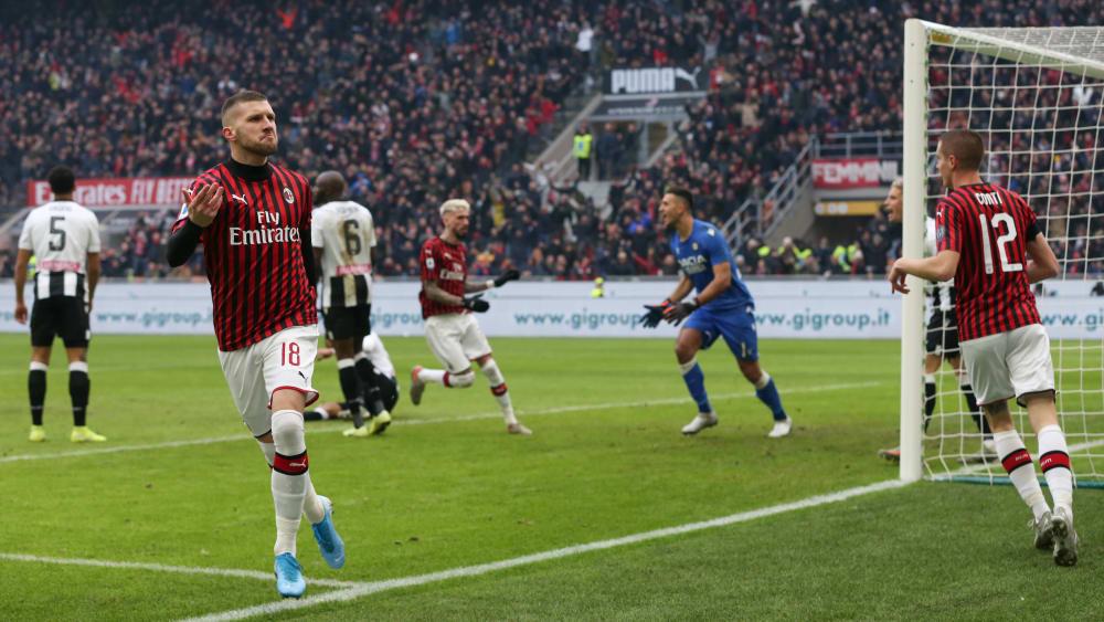 Ausgleich: Ante Rebic hat soeben das 1:1 gegen Udinese Calcio erzielt.