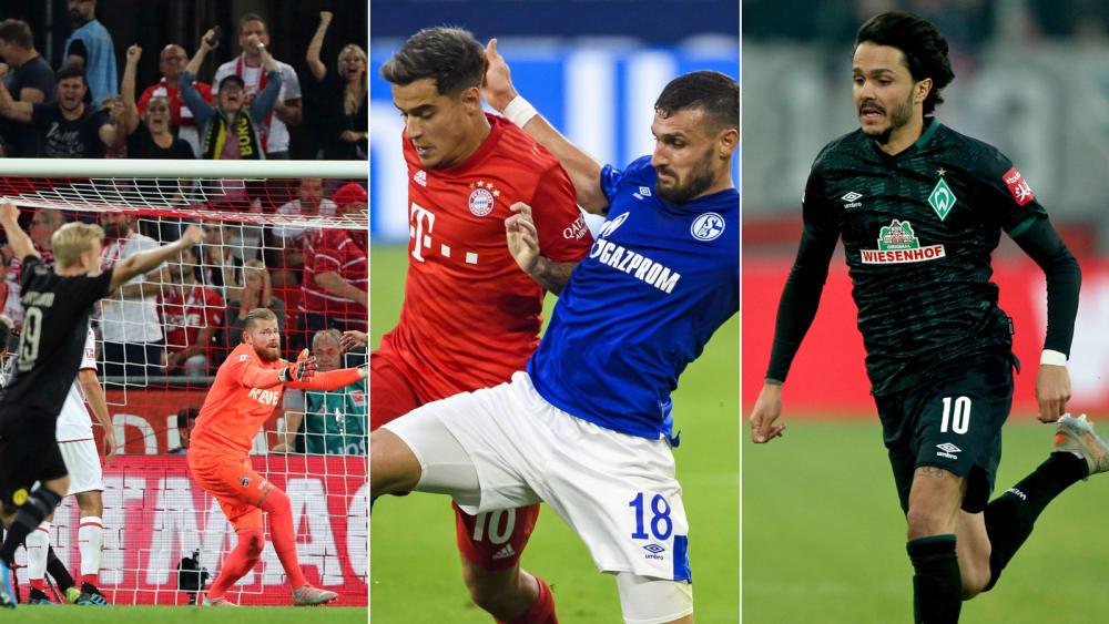 Dortmund jubelt gegen Köln (li.), Daniel Caligiuri bei einem Duell mit Coutinho (Mitte) und Leonardo Bittencourt