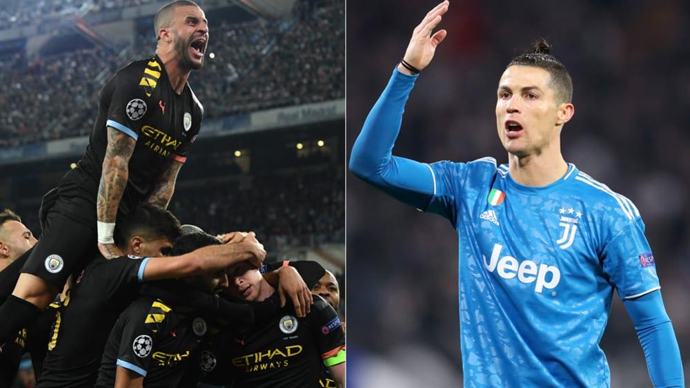 Manchester City (l.) jubelt, Juventus Turins Cristiano Ronaldo ist wütend