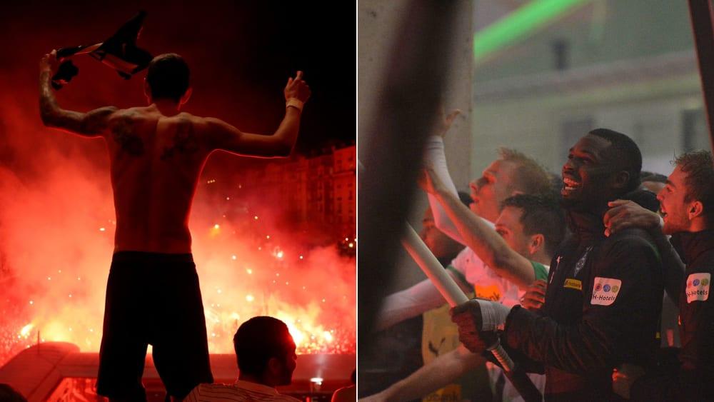 Dann steigt die Party eben vor den Stadien: Die PSG- und Gladbach-Profis feiern nach ihren Siegen am Mittwochabend mit ihren Fans.