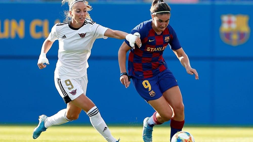 Einseitiges Duell: Auch Topspielerin Kosovare Asllani (li.) konnte die Pleite gegen Barça (mit Mariona Caldentei) nicht verhindern.