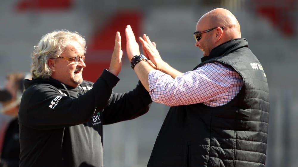 Ex-Wacker-Coach Heiko Scholz und Präsident Nico Kleofas