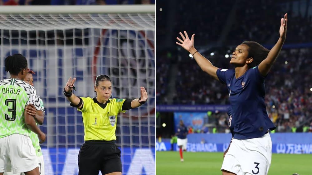 Die Nigerianerinnen beschweren sich bei FIFA-Referee Melissa Borjas, Frankreich feiert indes Matchwinnerin Wendie Renard.