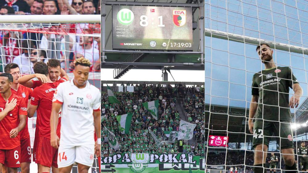 Bayern jubelt, Wolfsburger Anzeigetafel, Alexander Hack holt Ball aus dem Tornetz