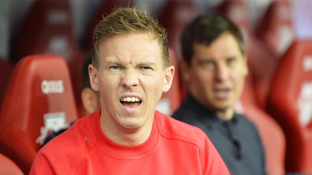 Da schaut selbst der Trainer ungläubig: Leipzig-Coach Julian Nagelsmann nach einem Treffer seiner Schützlinge.