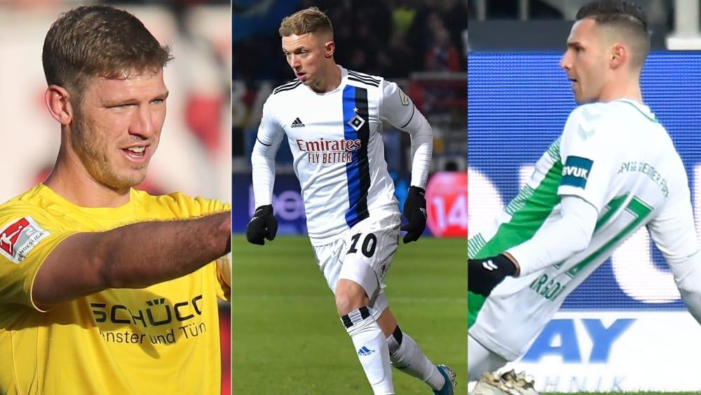 Waren für ihre Mannschaften treffsichere Goalgetter: Fabian Klos (li.), Sonny Kittel (Mitte) und Branimir Hrgota (re.).