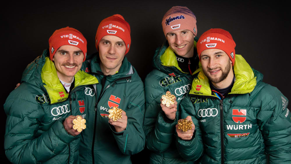 Team-Gold in Seefeld: Richard Freitag, Stephan Leyhe, Karl Geiger und Markus Eisenbichler.