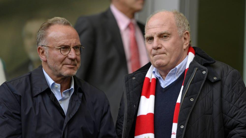 Karl-Heinz Rummenigge und Uli Hoeneß fc bayern münchen pressekonfrenz