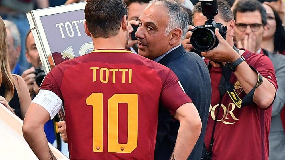 Francesco Totti (links) und Roma-Präsident James Pallotta