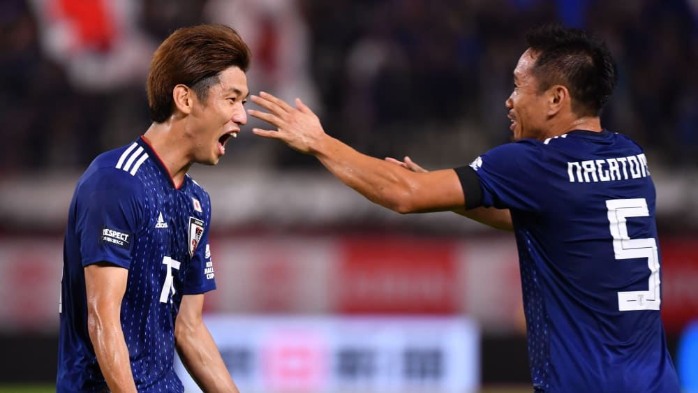 Freude: Yuya Osako feiert seinen Treffer für Japan.