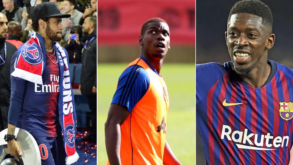 Neymar, Paul Pogba, Ousmane Dembelé (v.l.)