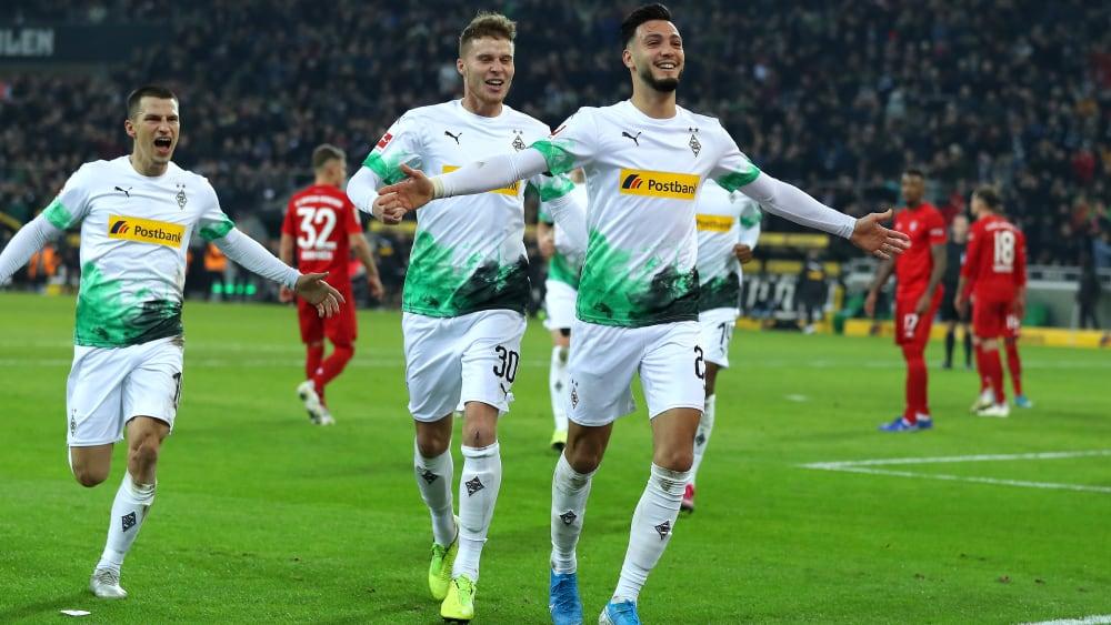 Doppelpacker: Linksverteidiger Ramy Bensebaini schoss Gladbach gegen Bayern zum 2:1-Comeback-Sieg.