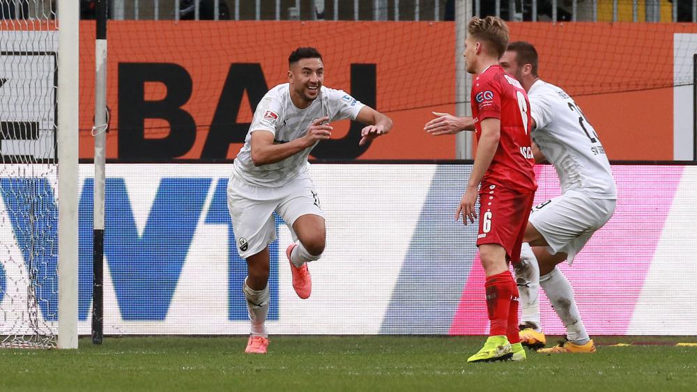 Der Matchwinner: Sandhausens Bouhaddouz (l.) traf in den Minuten eins und 24.