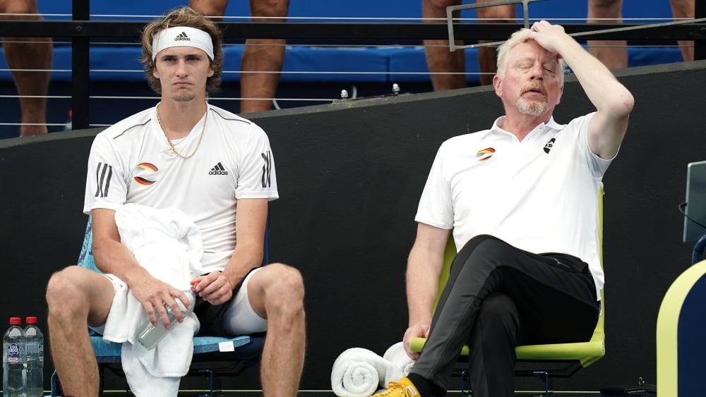 Alexander Zverev, rechts Boris Becker