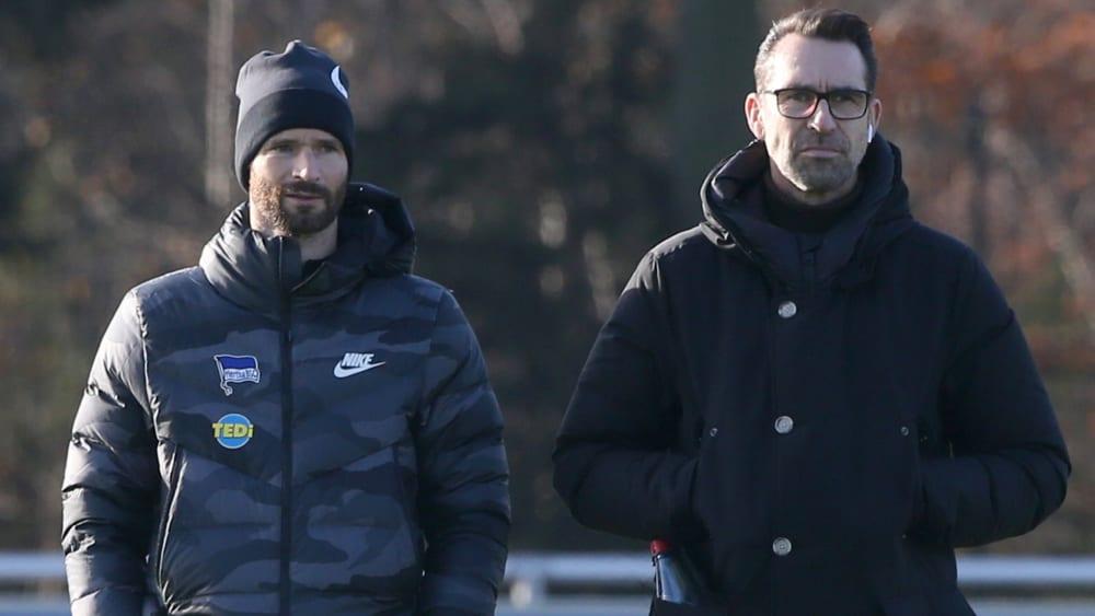 Einst Mitspieler, nun Funktionäre bei der Hertha: Arne Friedrich und Michael Preetz.