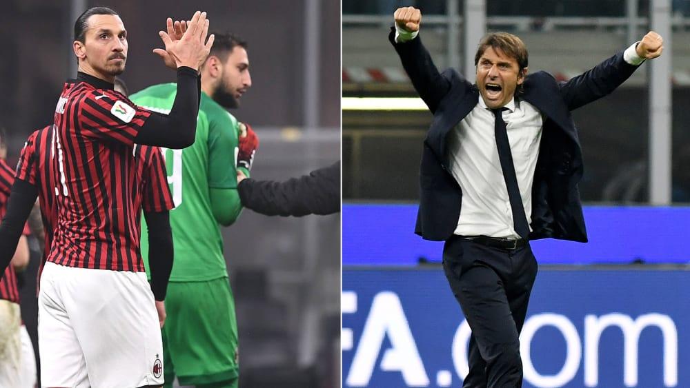 Milan-Stürmer Zlatan Ibrahimovic (l.) und Inter-Coach Antonio Conte sind angriffslustig