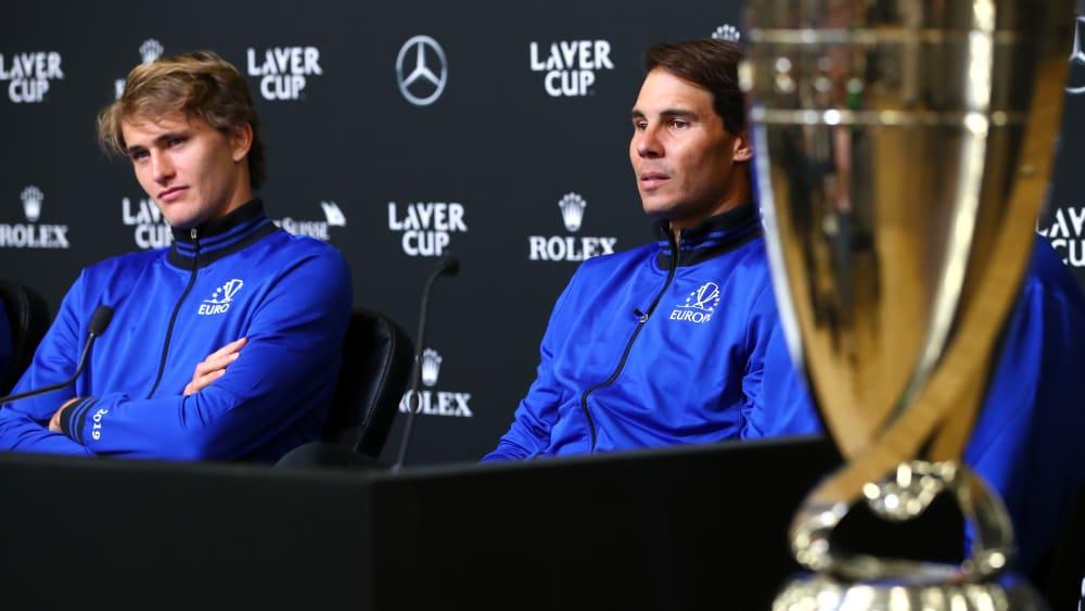 Alexander Zverev (li.) und Rafael Nadal