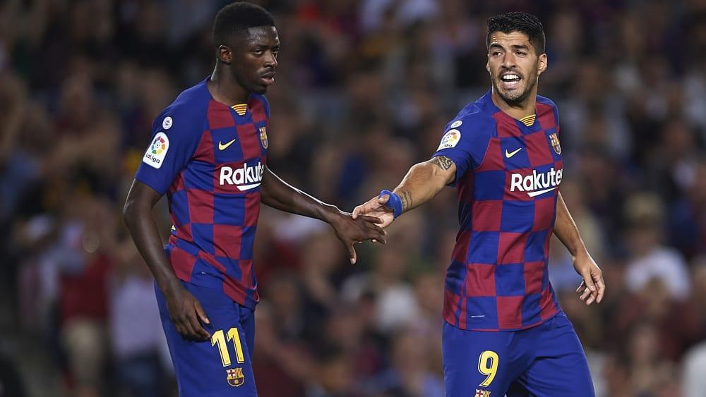 Luis Suarez (r.) und Ousmane Dembelé