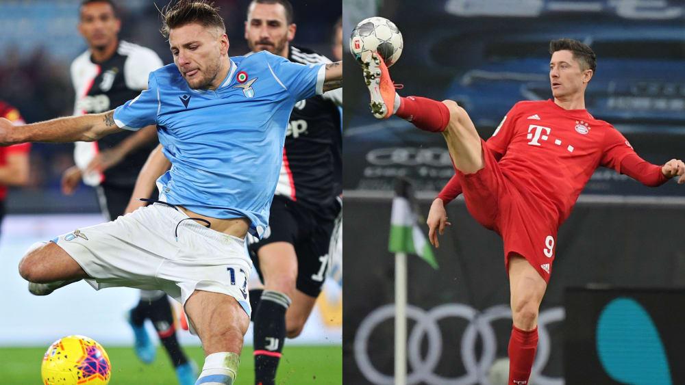 Ciro Immobile von Lazio Rom und Bayerns Robert Lewandowski
