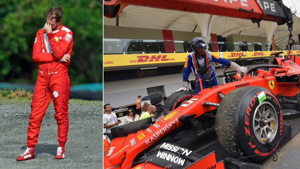 Ein Jubiläum zum Vergessen: Ferrari-Pilot Sebastian Vettel.