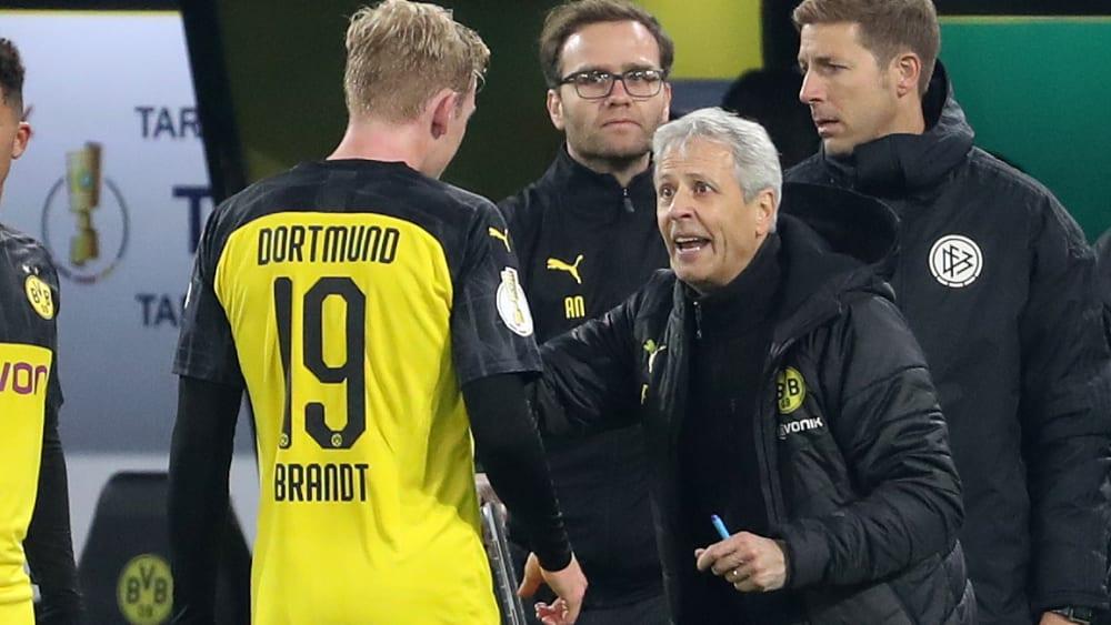BVB-Trainer Lucien Favre und Julian Brandt