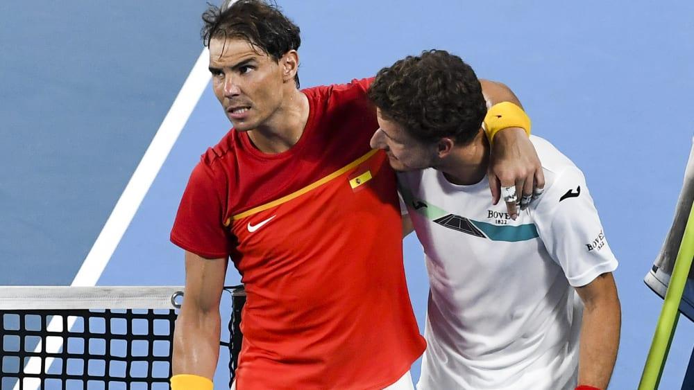 Rafael Nadal (l.) mit Doppelpartner Pablo Carreno Busta