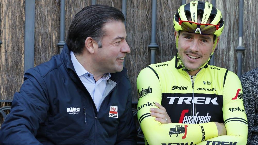 John Degenkolb mit seinem neuem Chef bei Lotto Soudal John Lelangue