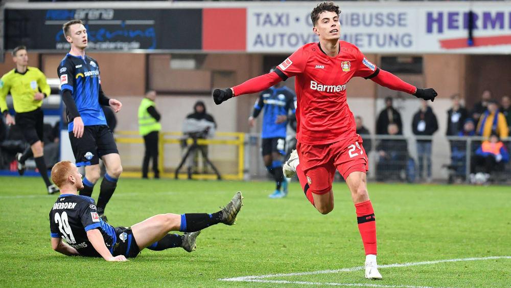 Kai Havertz setzte den Schlusspunkt mit dem 4:1 für Bayer Leverkusen gegen Paderborn.