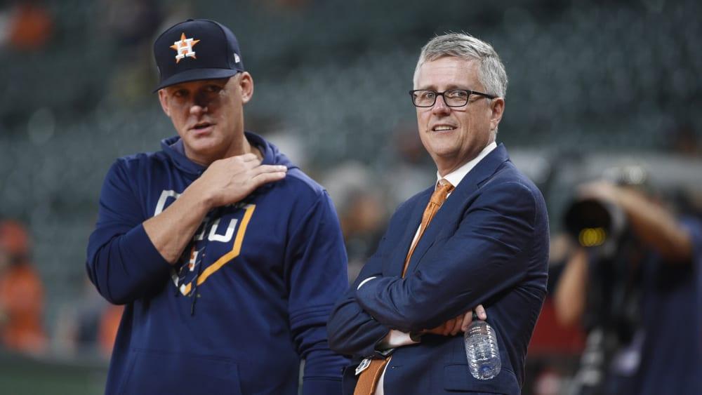 Cheftrainer A.J. Hinch und General Manager Jeff Luhnow