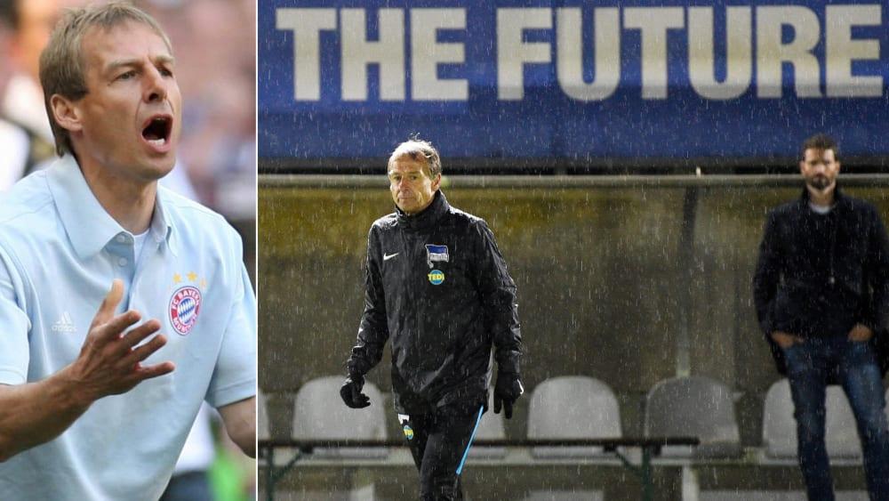 Klinsmann 2009 bei seinem letzten Spiel als Bayern-Trainer und beim ersten Training mit der Hertha.