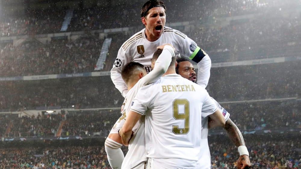 Großer Jubel: Real geht durch Karim Benzema mit 1:0 in Führung.