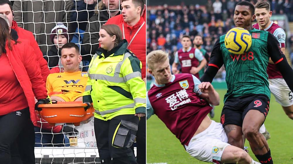 Tom Heaton (l.) musste in Burnley abtransportiert werden, Wesley (r.) musste nach diesem Foul von Ben Mee seine Saison vorzeitig beenden