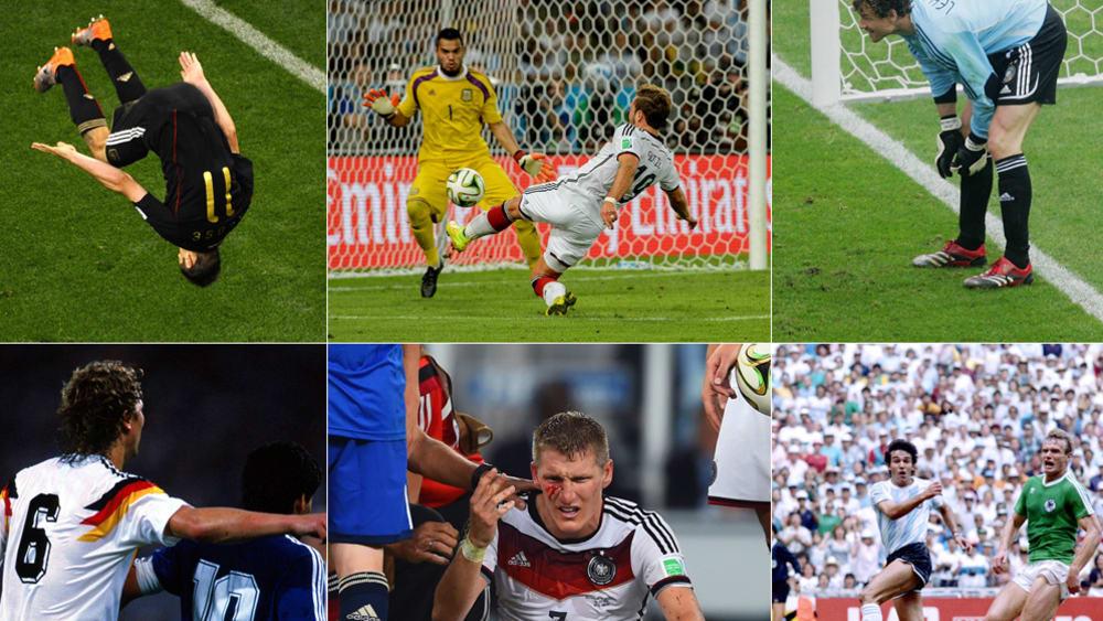 Ob Jens Lehmanns Zettel, das Duell zweier Diegos oder die klaffende Wunde des Bastian Schweinsteiger: Bei Fußball-Weltmeisterschaften lieferten sich Deutschland und Argentinien über Jahrzehnte heiße Gefechte. Die Highlights zum Durchklicken...