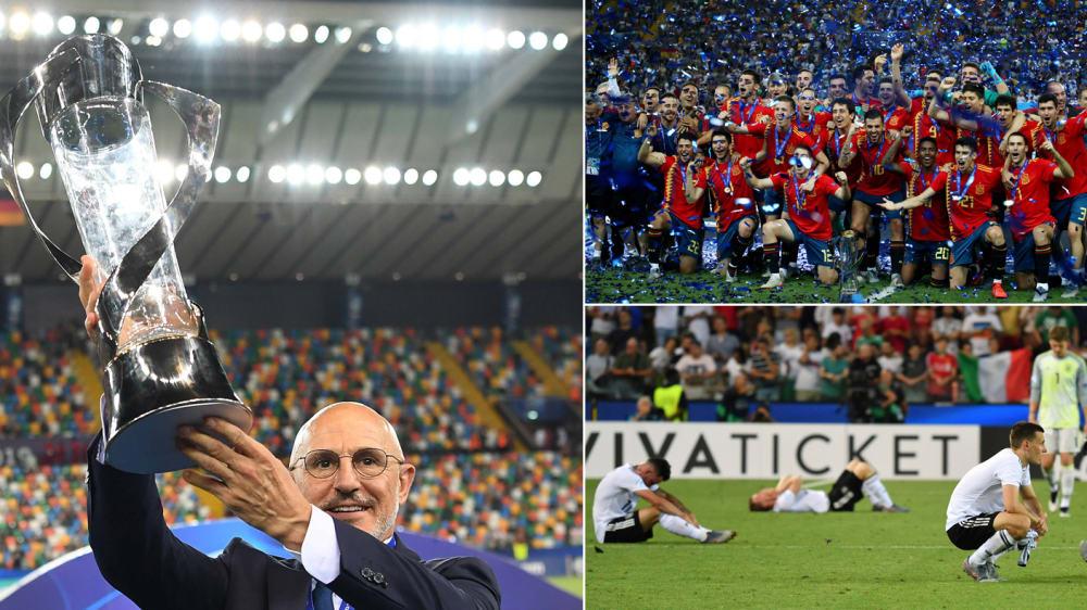 Die spanische U-21-Nationalmannschaft hat sich gegen Deutschland für die Finalpleite von 2017 revanchieren können. Nach dem 2:1-Erfolg folgte noch auf dem Rasen eine rot-goldgelbe Fiesta.