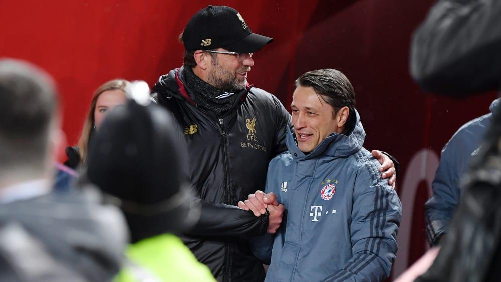 Niko Kovac (r.) mit Jürgen Klopp beim Champions-League-Achtelfinale 2018/19