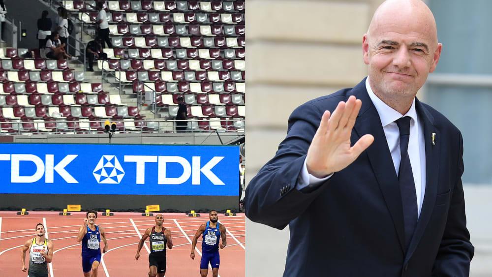 Leere Ränge bei der Leichtathletik-WM in Katar - und FIFA-Präsident Gianni Infantino