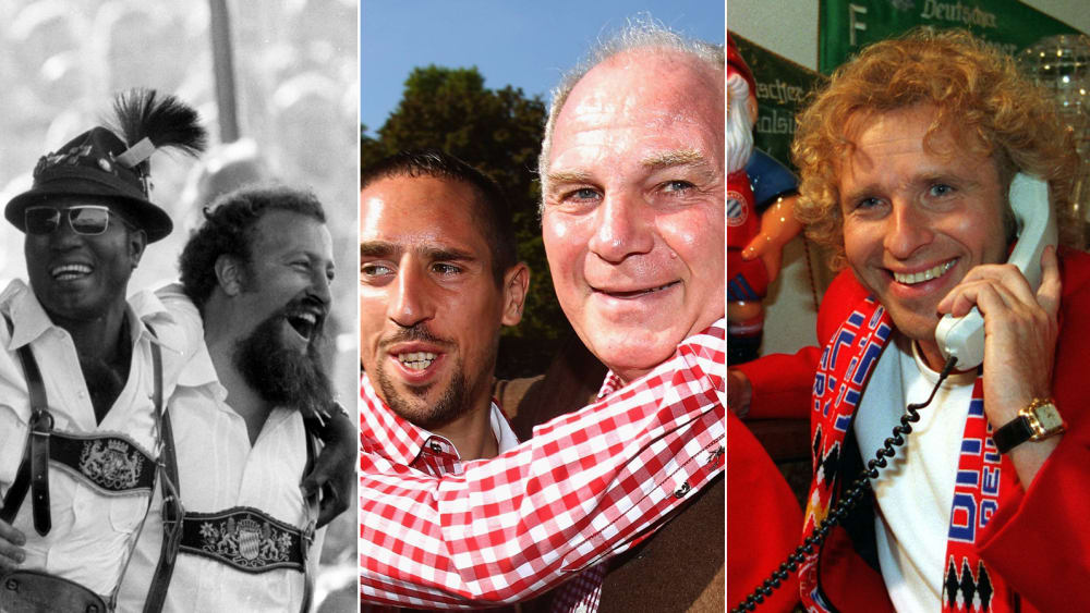 Bayern-Fans 1970, Uli Hoeneß 2011 mit Franck Ribery und Bayern-Fan Thomas Gottschalk 1995