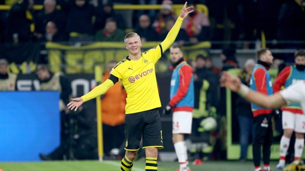 Weiter steil nach oben: BVB-Neuzugang Erling Haaland traf bei seiner Heimpremiere doppelt.