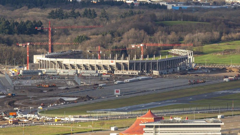 Das neue Stadion in Freiburg wächst.