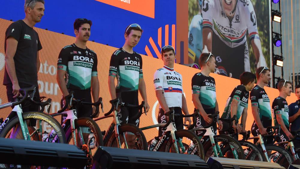 Das Team Bora-hansgrohe bei der Vorstellung der Tour Down Under