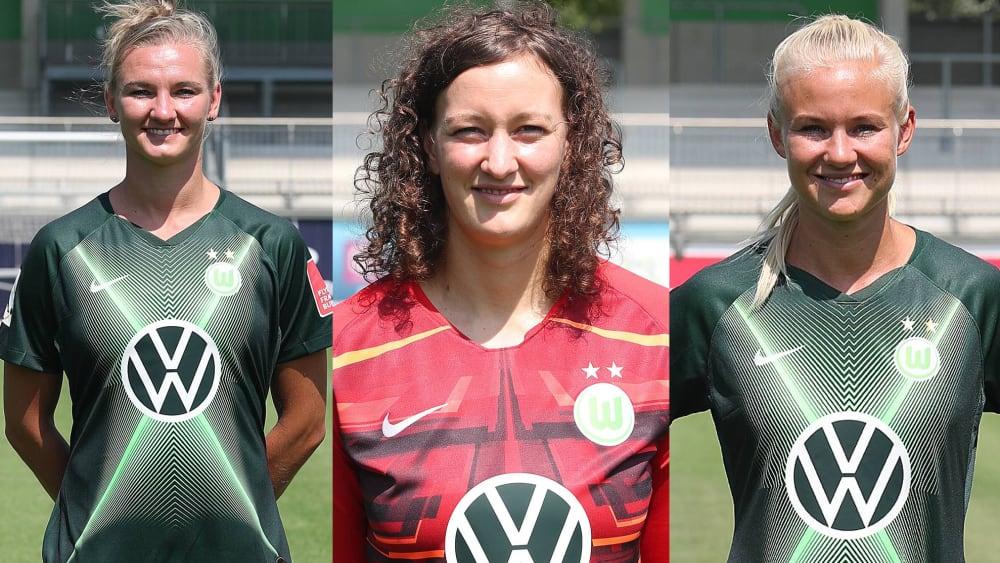 Alexandra Popp, Almuth Schult und Pernille Harder (v.li.)